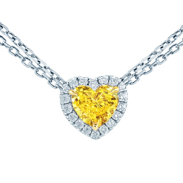 18k White Gold 1ct TDW Fancy Yellow and White Diamond Heart Shaped Pendant (G-H, VS2)