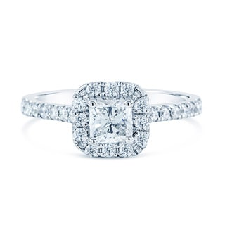 14k White Gold Certified 1 1/8ct TDW White Diamond Radiant Cut Halo Ring (H-I,VS1-VS2)