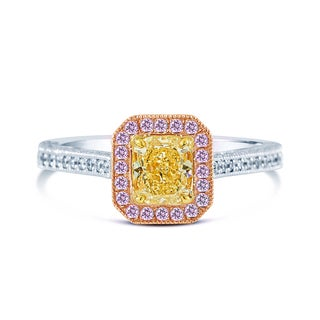 14k Three-Tone Gold 1 5/8ct TDW Fancy Yellow, Pink, and White Diamond Halo Ring (G-H, VS2-SI1)