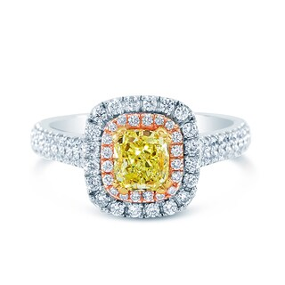 14k Three-Tone Gold 1 3/5ct TDW Fancy Yellow and White Diamond Double Halo Ring (G-H, VS2)