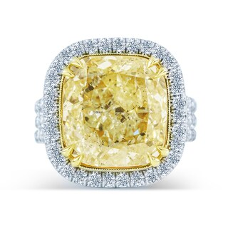 18k White Gold GIA Certified 11 5/8ct TDW Fancy Light Yellow Diamond Ring