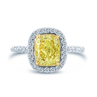 14k White Gold 2 1/10ct TDW Fancy Yellow and White Diamond Halo Ring (G-H, VS2)