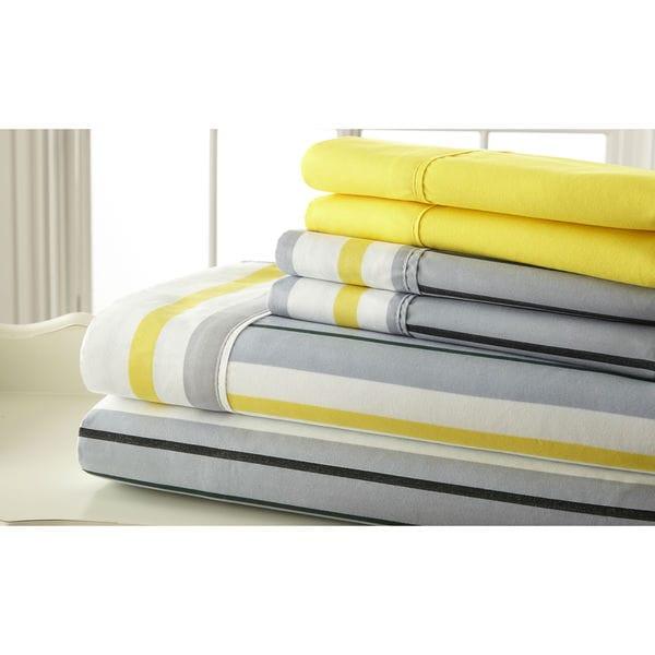 6-piece 100GSM Grey and Yellow Stripe Printed Sheet Set