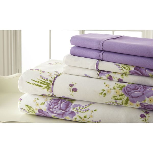6-piece 100GSM Lavender Floral Printed Sheet Set