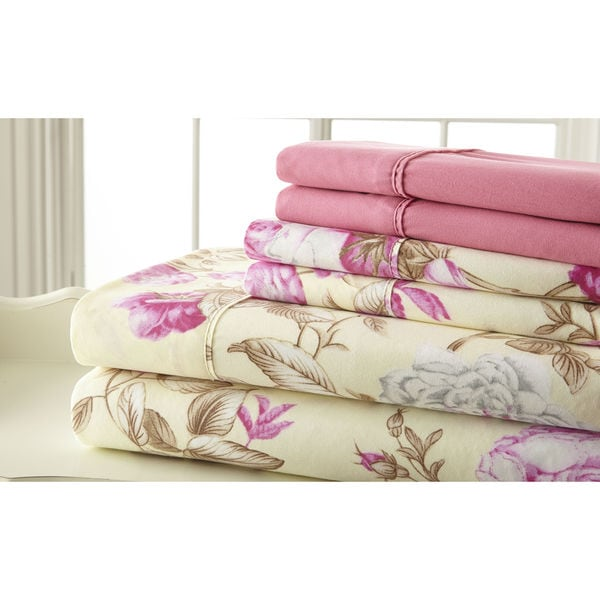 6-piece 100GSM Pink Floral Printed Sheet Set