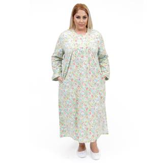 La Cera Women's Plus Size Long-Sleeve Flannel Gown