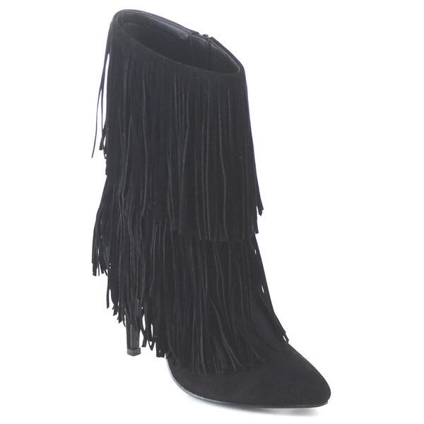 Beston EA44 Women's 2-layer Fringed Trim Stiletto Heel Booties