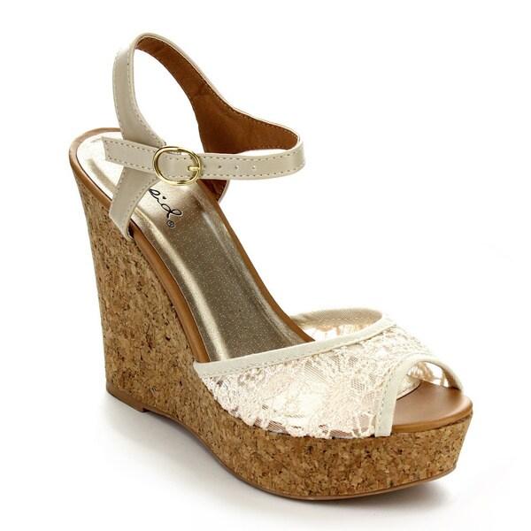 Qupid CLEMENCE-110 Women's Ankle Strap Platform Wedges