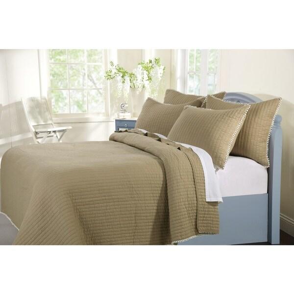 Pom Pom Sand Cotton 3-piece Quilt Set