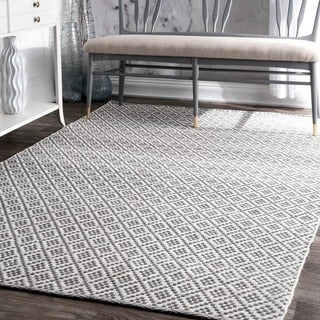 nuLOOM Handmade Flatweave Moroccan Trellis Grey Cotton Rug (9' x 12')