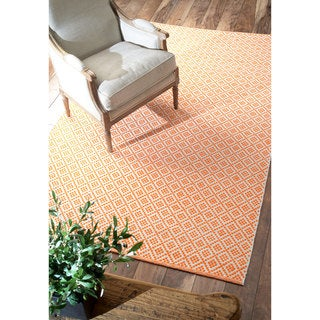 nuLOOM Handmade Flatweave Moroccan Trellis Orange Cotton Rug (9' x 12')