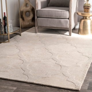 nuLOOM Handmade Abstract Raised Trellis Wool Cream Rug (8'6 x 11'6)