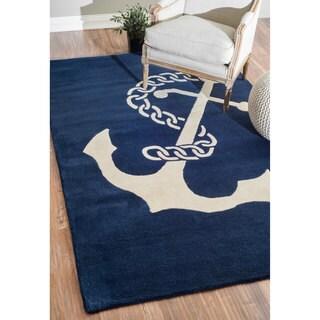 nuLOOM Handmade Anchor Navy Wool Rug (8'6 x 11'6)