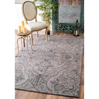 nuLOOM Handmade Country Floral Centerpiece Wool Grey Rug (7'6 x 9'6)