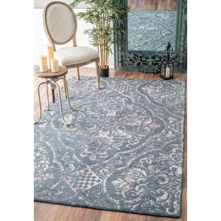 nuLOOM Handmade Country Floral Centerpiece Wool Blue Rug (7'6 x 9'6)