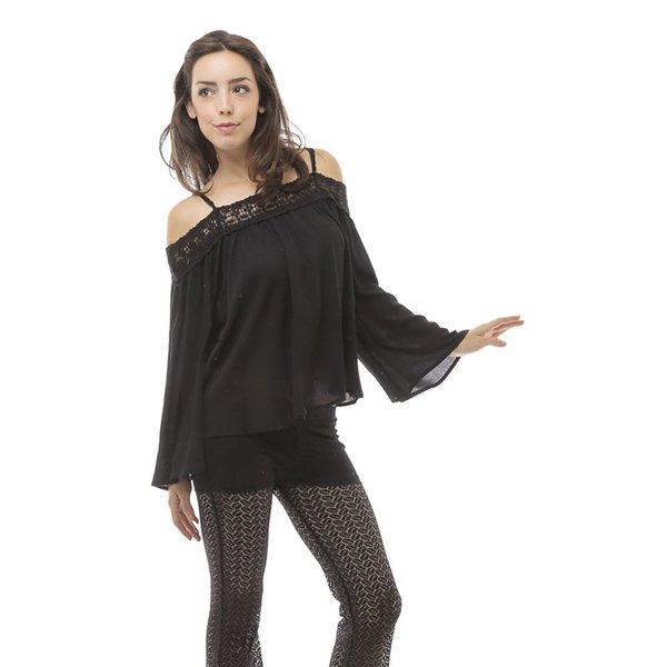 Soho Women's Black Open Shoulder Crochet Trim Blouse