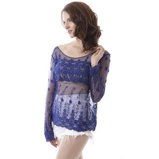 Soho Women's Blue Crochet Seethrough Cover Up