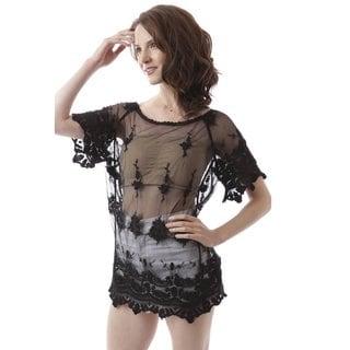 Soho Women's Black Crochet Seethrough Cover Up