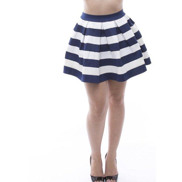 Soho Women's Navy Textured Striped Elastic Waist Pleated Skirt