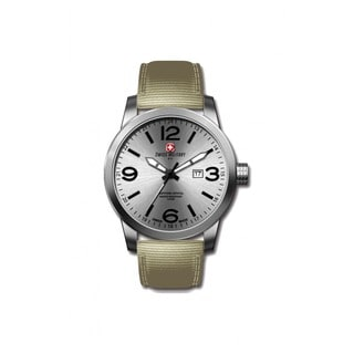 Swiss Military by R 50504 3 A Sniper Men's Beige Nylon Strap Silver Dial Watch with pocket military knife