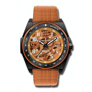 Swiss Military by R 50505 37N OR Commando Men's Orange Camo Dial Watch with pocket military knife