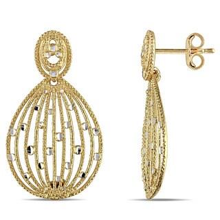 Miadora Signature Collection 18k Yellow Gold Filigree Teardrop Dangle Earrings