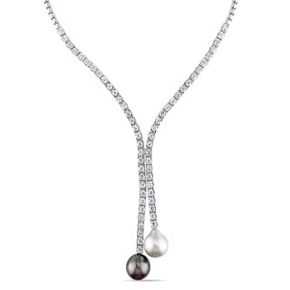 Miadora Signature Collection 14k White Gold Pearl and 6 1/2ct TDW Diamond 'Y' Riviera Necklace (G-H, SI1-SI2)