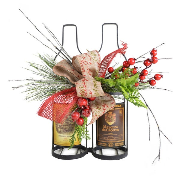 Merry Christmas Decorative Wine Holder and Accent Piece