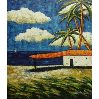 'Colorful Seascape' 20x24 Impressionist Original Oil Painting Canvas Wall Art