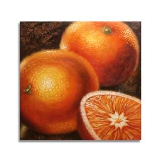 'Modern Oranges' 24x24 Realistic Original Oil Painting Canvas Wall Art
