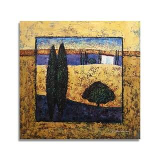 'Modern Landscape' 24x24 Impressionist Original Oil Painting Canvas Wall Art