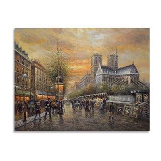 'Paris Cityscape' 36x48 Impressionist Oil Painting Canvas Wall Art