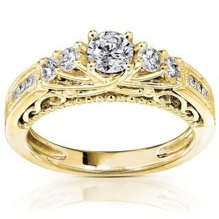 Annello 14k Yellow Gold 3/4ct TDW Round Brilliant Diamond Ring (H-I, I1-I2)