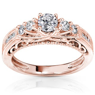 Annello 14k Rose Gold 3/4ct TDW Round Brilliant Diamond Ring (H-I, I1-I2)