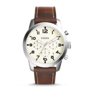 Fossil Men's FS5146 Pilot 54 Chronograph Cream Dial Brown Leather Watch