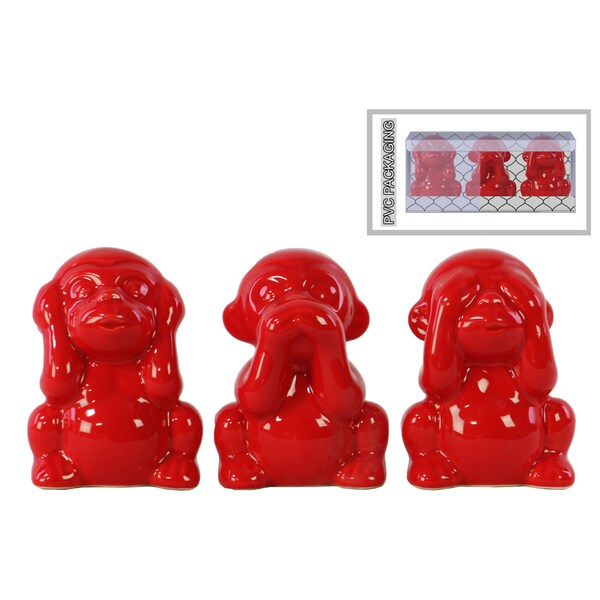Ceramic Gloss Finish Red Monkey Figurines