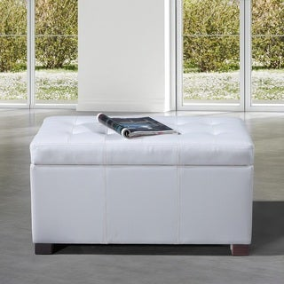 Traditional Stitching Creamy White Faux Leather Storage Bench Ottoman