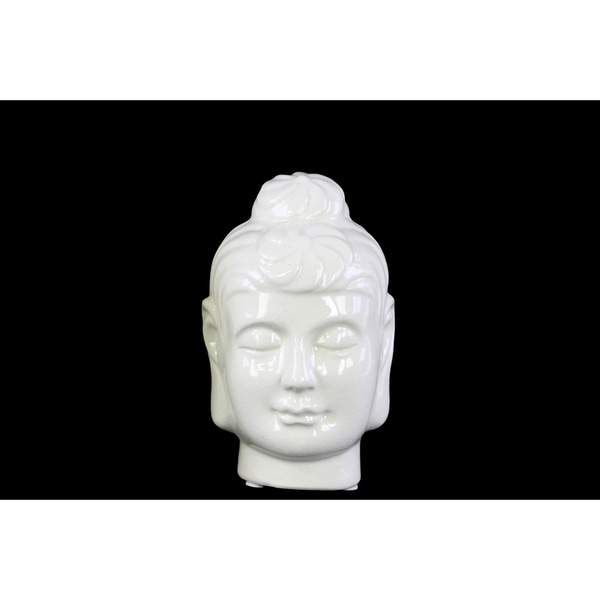 Ceramic Gloss Finish White Small Buddha Head with Bun Ushnisha