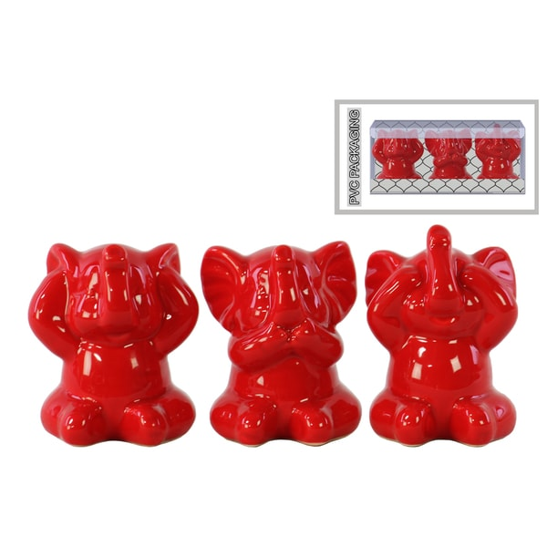 Ceramic Gloss Finish Red Elephant Figurines