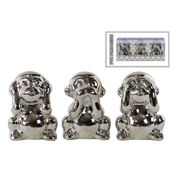 Ceramic Polished Chrome Finish Silver Monkey Figurines