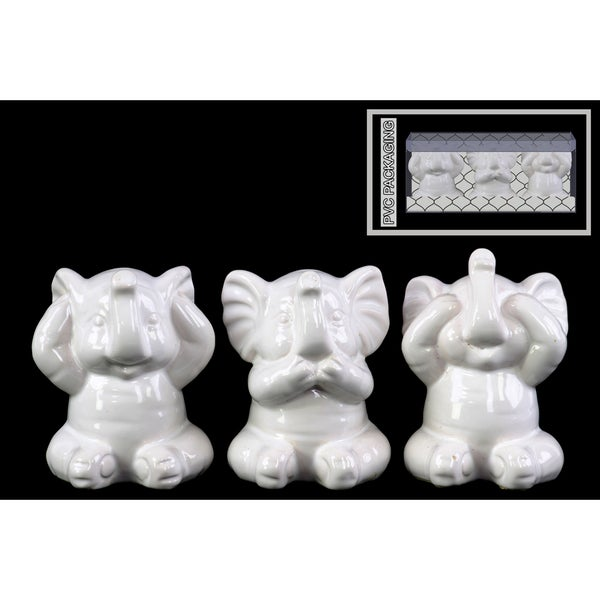 Ceramic Gloss Finish White Elephant Figurines