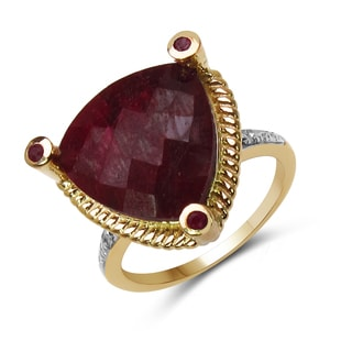 Malaika 14k Yellow Goldplated Silver Ruby and White Diamond Accent Ring
