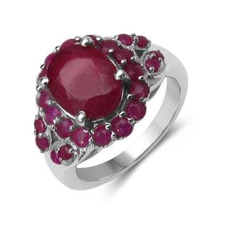 Malaika Sterling Silver Genuine Ruby Ring