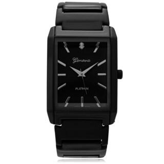 Geneva Platinum Men's Rectange Face Polished Link Watch