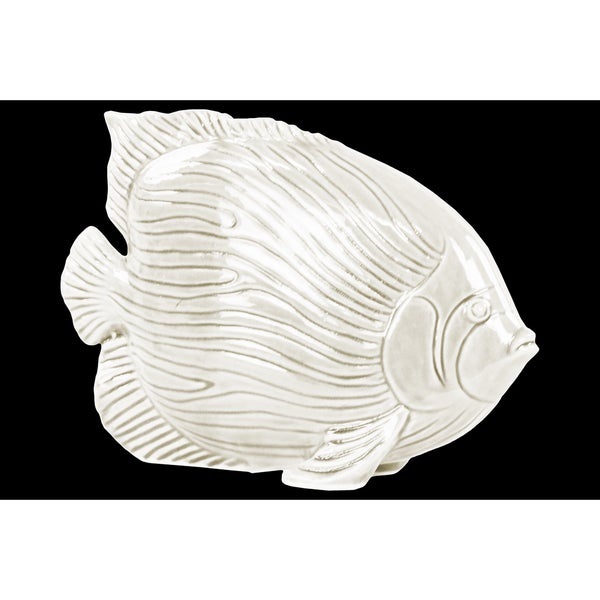 Ceramic Gloss Finish White Angel Fish Figurine with Linear Scales