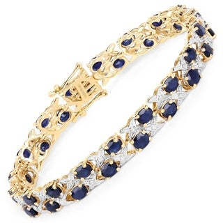 Malaika 14K Yellow Gold Plated 18.32 Carat Genuine Blue Sapphire and White Diamond .925 Sterling Silver Bracelet