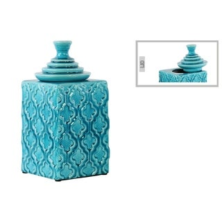 Glossy Turquoise Finish Ceramic Square Canister with Embossed Pattern and Step Lid Large