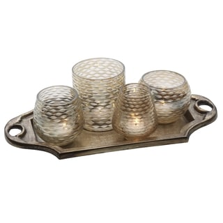 Bombay 4-lite Gold Luster Candle Garden