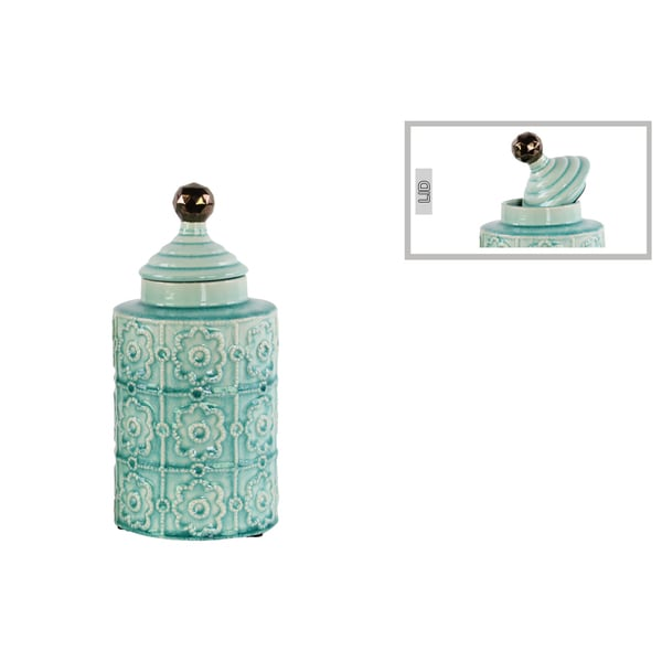 Glossy Light Blue Finish Ceramic Cylindrical Canister with Embossed Pattern, Step Lid and Spherical Handle Small