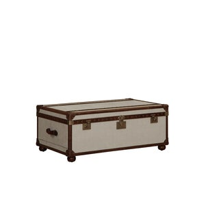 Lazzaro Leather General Two Drawer Steamer White Linen and Snap Cocktail Table